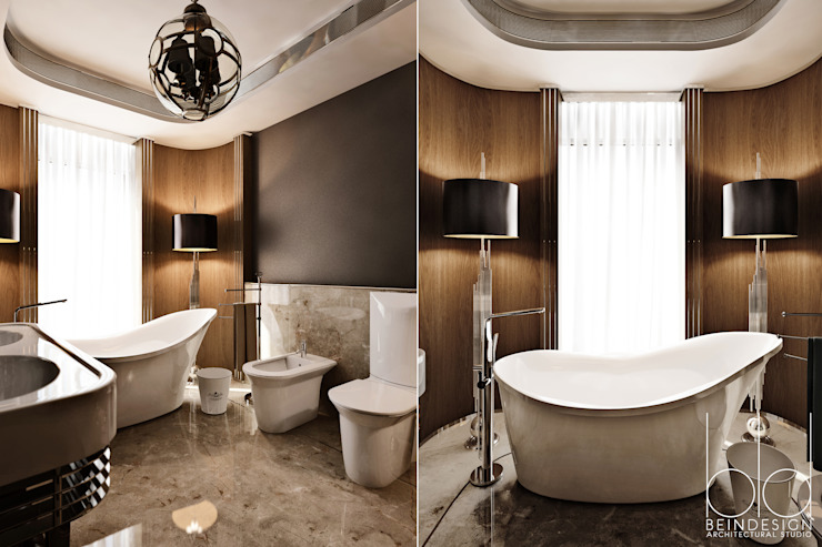 Ванная комната, арт-деко Гостиницы в эклектичном стиле от BEINDESIGN Эклектичный
