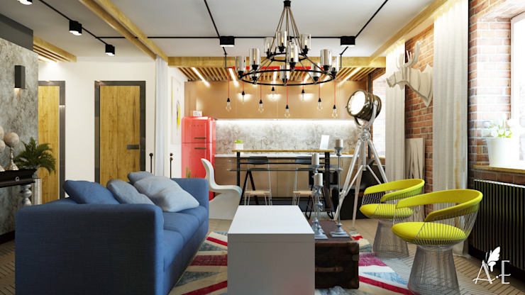 Проект интерьера квартиры 60 м2 Гостиная в стиле лофт от Apolonov Interiors Лофт