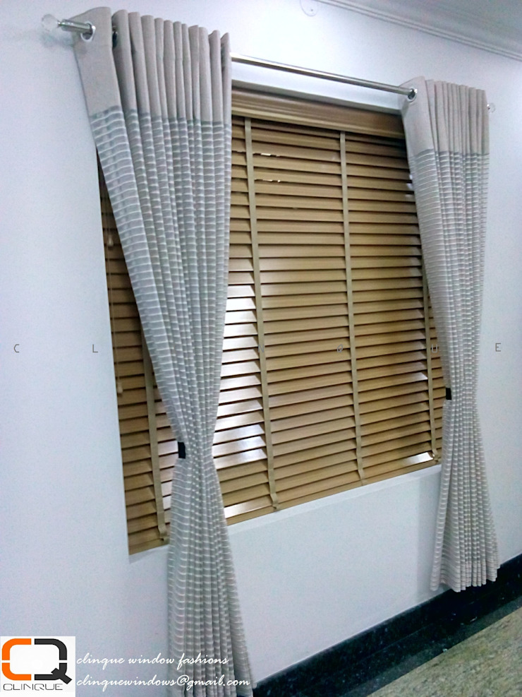 Wooden Blinds With fabric Curtain: asian  by Clinque window blind systems,Asian