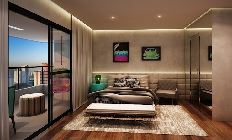 Vitacon Casa do Ator: Quartos  por MM18 Arquitetura