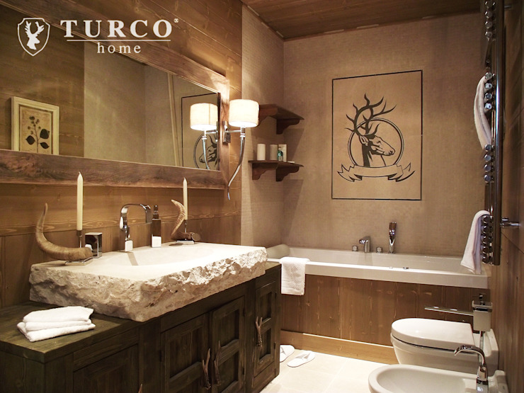 Rustic style bathroom by turco home srl Rustic