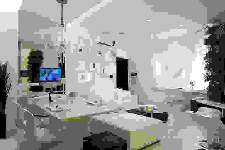 Sala de jantar integrada com estar Salas de estar minimalistas por Espaço do Traço arquitetura Minimalista