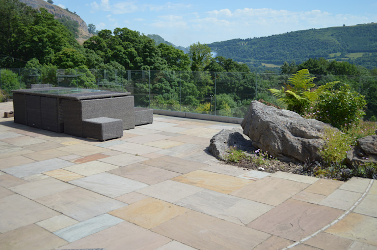 Natural Indian Stone Paving Unique Landscapes Country style balcony, porch & terrace