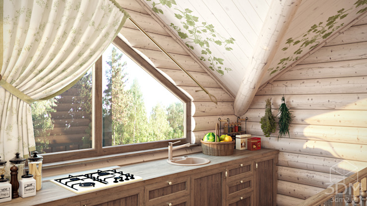 Cucina rurale di студия визуализации и дизайна интерьера '3dm2' Rurale