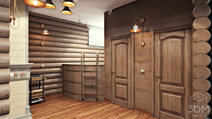 Country style corridor, hallway& stairs by студия визуализации и дизайна интерьера '3dm2' Country