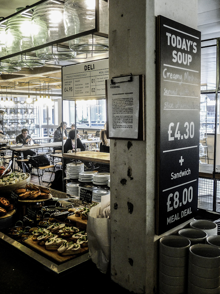 Barbican Foodhall - Signage Industrial style gastronomy by helen hughes design studio ltd Industrial