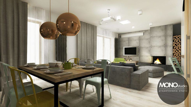 Akcentem mocno charakterystycznym są jasne, naturalne barwy. Skandynawski salon od MONOstudio Skandynawski