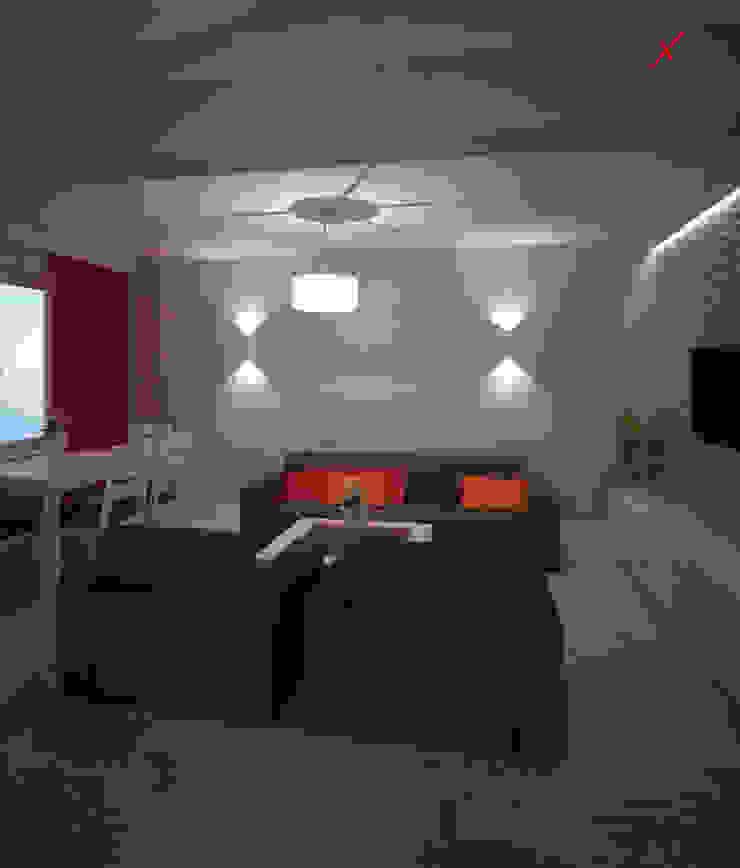 Dom z poddaszem Minimalistyczny salon od Axentim Minimalistyczny
