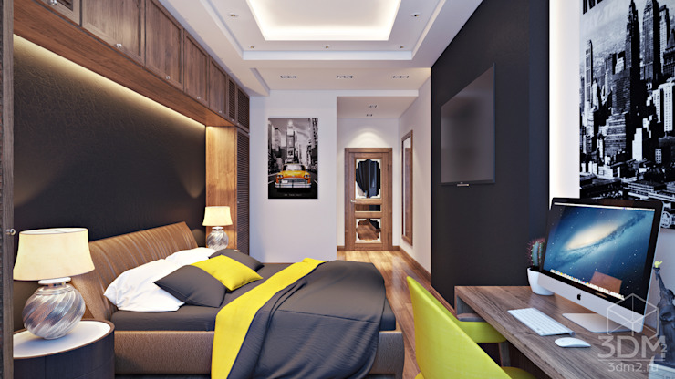 08 Спальня в стиле минимализм от студия визуализации и дизайна интерьера '3dm2' Минимализм