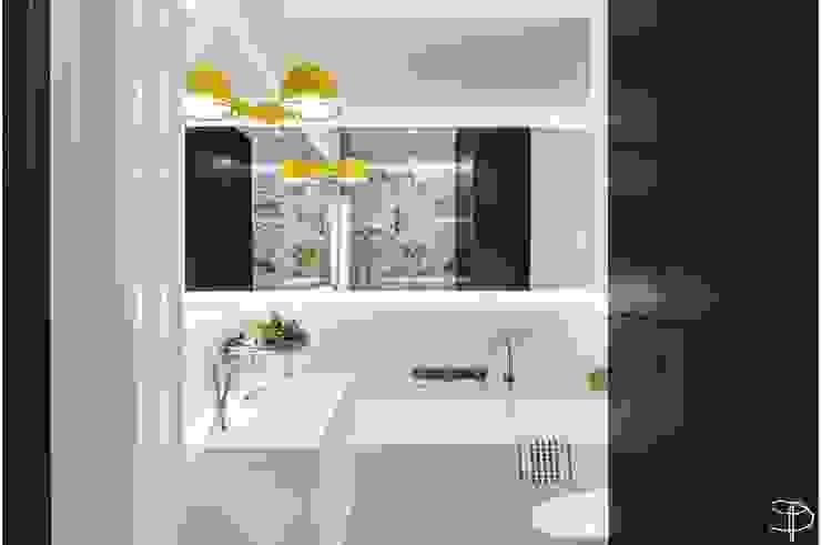 Wnętrze z Banksym Skandynawska łazienka od Studio Potorska Skandynawski