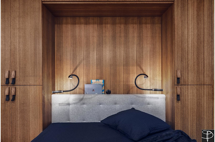 Wnętrze z Banksym Skandynawska sypialnia od Studio Potorska Skandynawski
