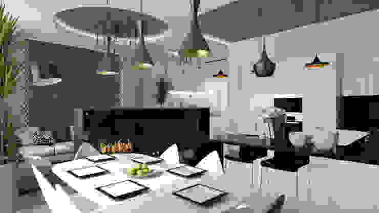 13 Столовая комната в стиле минимализм от студия визуализации и дизайна интерьера '3dm2' Минимализм
