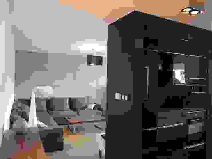 Apartament w Szczecinie Skandynawski salon od 4Q DEKTON Pracownia Architektoniczna Skandynawski