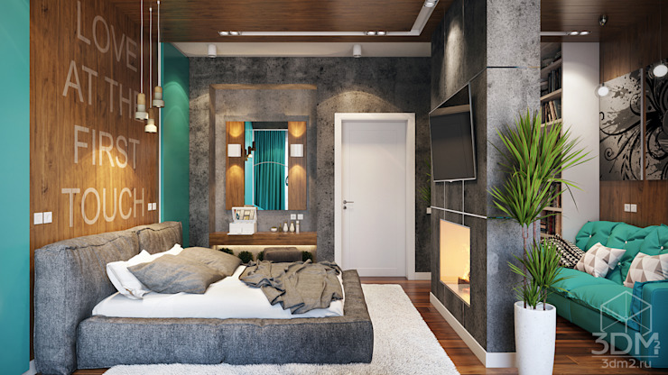 Industrial style bedroom by студия визуализации и дизайна интерьера '3dm2' Industrial