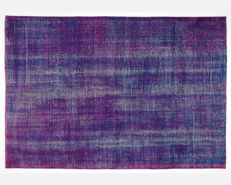 Vintage Handmade Over-dyed Rug In Deep Purple & Blue All the hues SalonAccessoires & décorations
