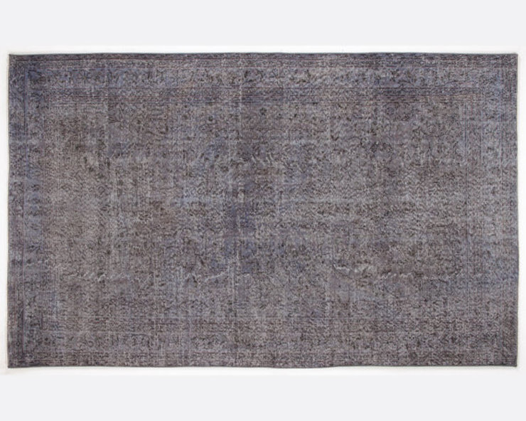 Vintage Handmade Over-dyed Rug In Grey - Floral Pattern All the hues SalonAccessoires & décorations