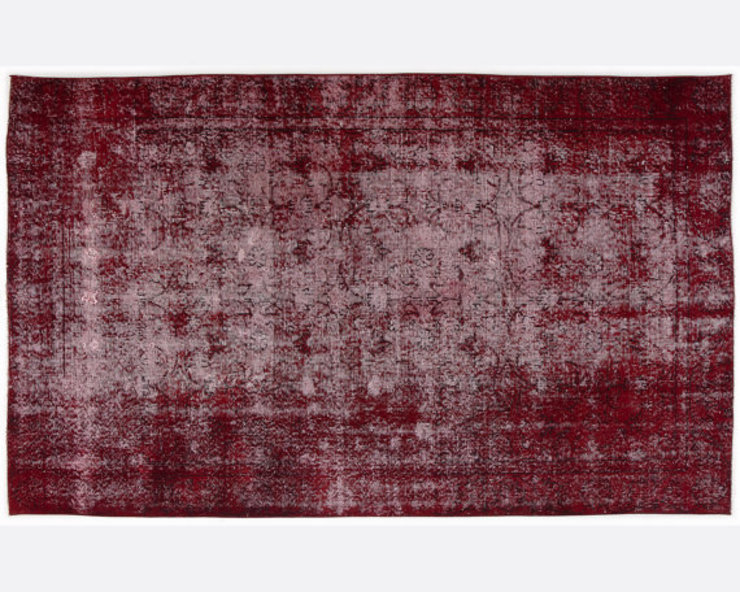 Vintage Handmade Overd-dyed Rug In Rich Red 007 All the hues SalonAccessoires & décorations