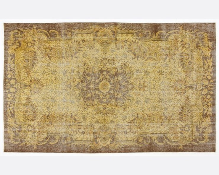 Vintage Handmade Over-dyed Rug In Yellow All the hues SalonAccessoires & décorations