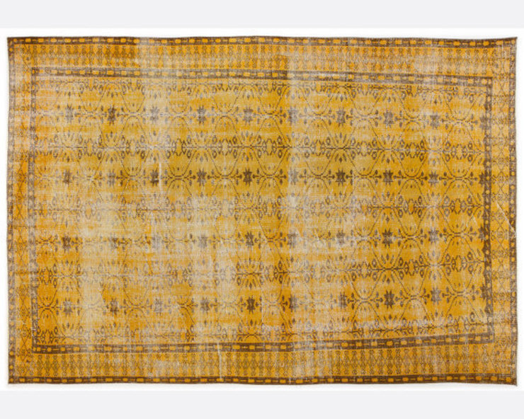 Vintage Handmade Over-dyed Rug In Yellow 004 All the hues SalonAccessoires & décorations