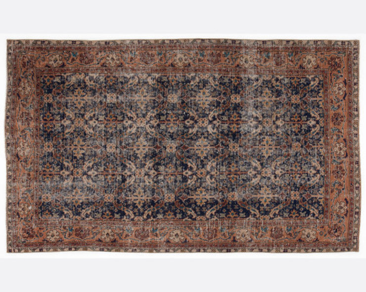 Vintage Handmade Over-dyed Rug In Brown & Soft Beige All the hues SalonAccessoires & décorations