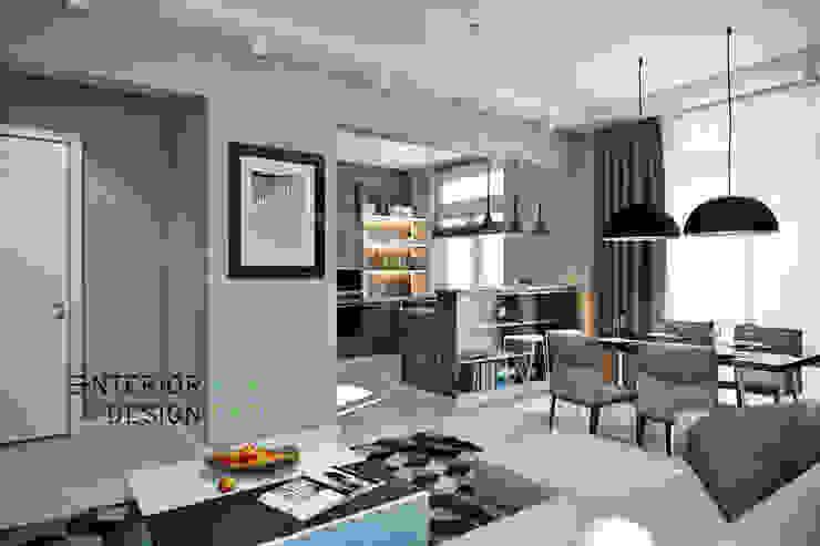 Гостиная объединенная с кухней Гостиная в стиле модерн от Студия архитектуры и дизайна Дарьи Ельниковой Модерн