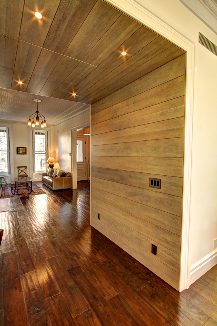 Park Slope Brownstone Colonial style corridor, hallway& stairs by Ben Herzog Architect Colonial