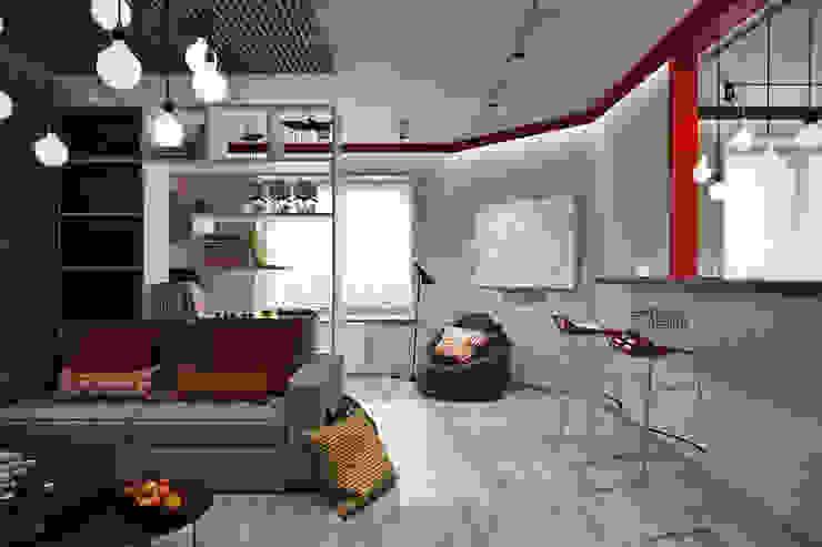 Salas de estilo industrial de Студия архитектуры и дизайна Дарьи Ельниковой Industrial