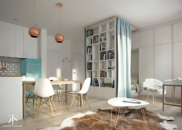 Phòng khách phong cách Bắc Âu bởi Kamińska Stańczak Bắc Âu