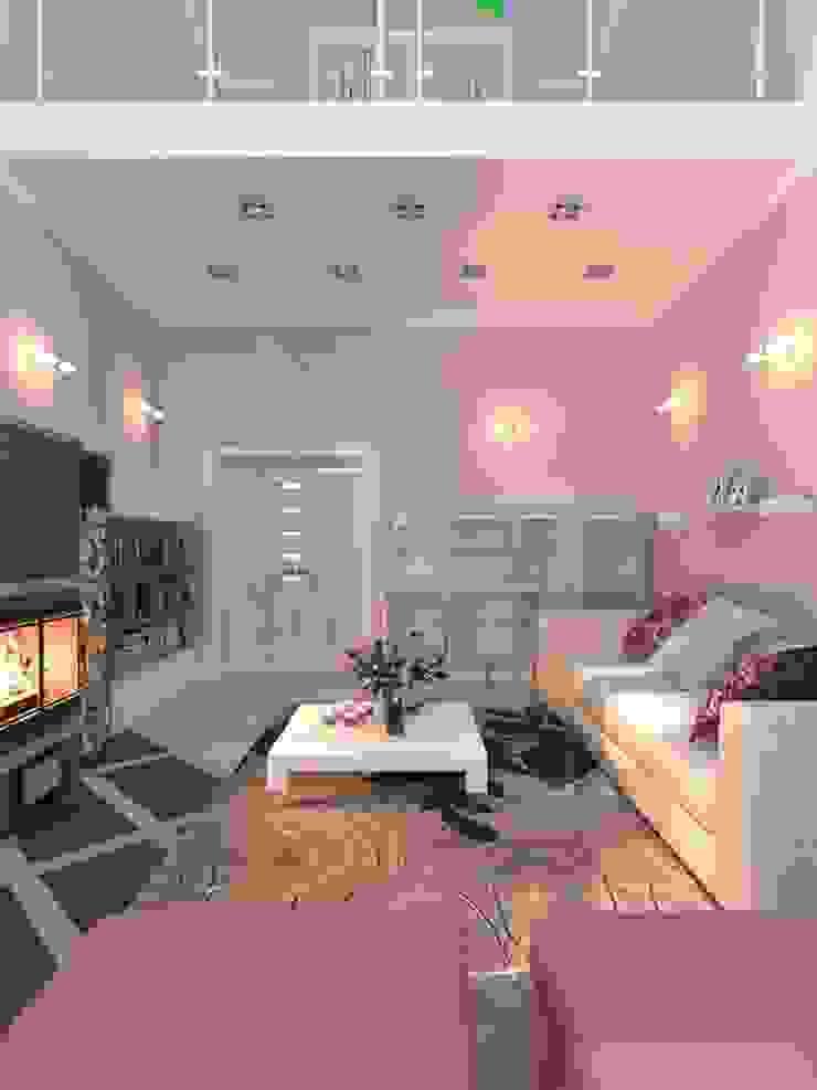 2 storey living room in a private house. Belgorod Гостиные в эклектичном стиле от Your royal design Эклектичный