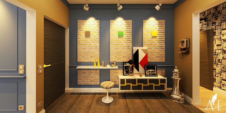 Дизайн проект квартиры г. Нижний Новгород Коридор, прихожая и лестница в эклектичном стиле от Apolonov Interiors Эклектичный