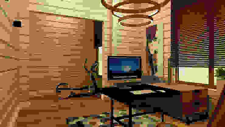 Дизайн проект загородного дома п. Бурцево Рабочий кабинет в стиле минимализм от Apolonov Interiors Минимализм