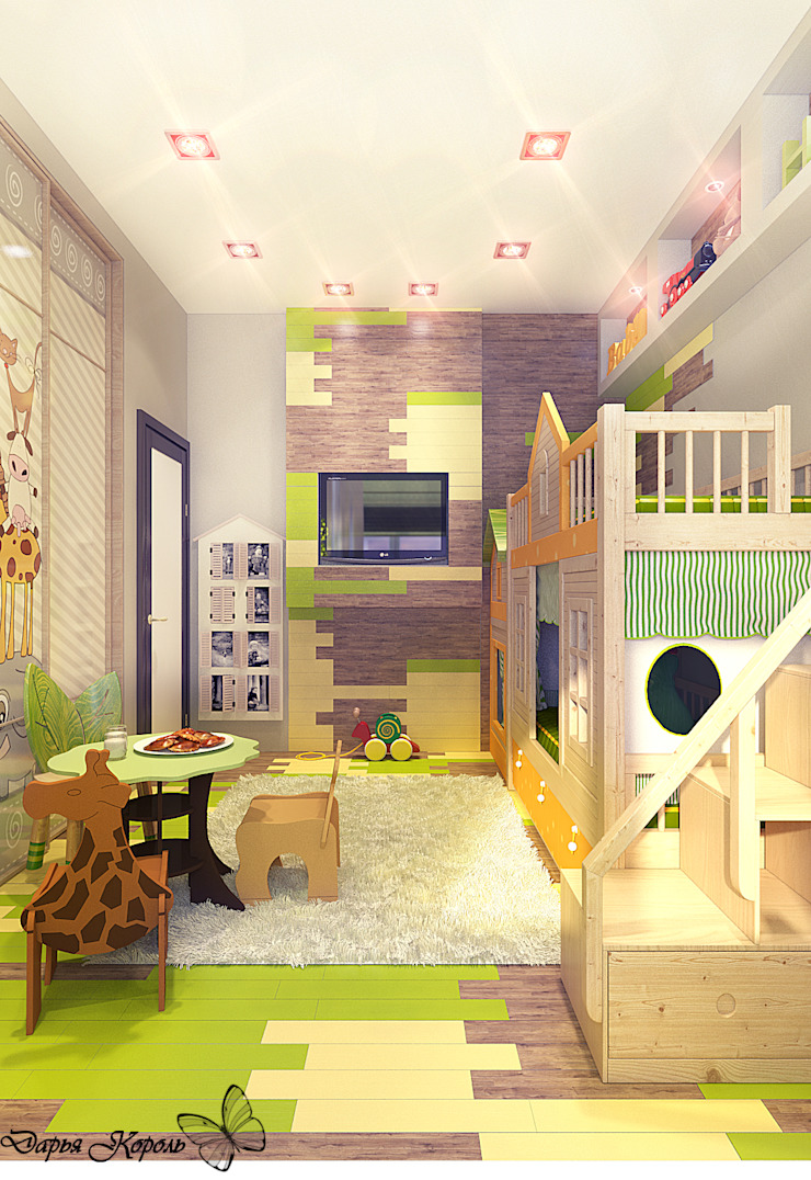 Children's room with bright parquet Детская комнатa в стиле кантри от Your royal design Кантри