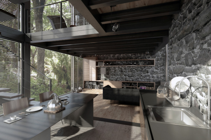 House In Guatemala Modern Mutfak NATURAL LIGHT DESIGN STUDIO Modern