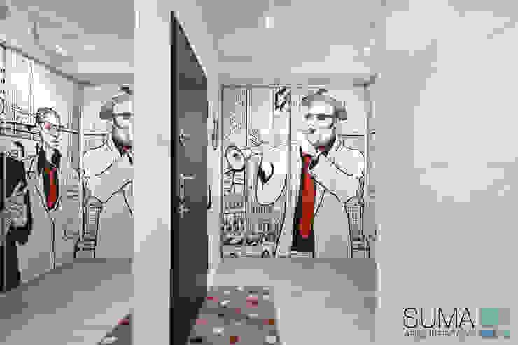MODERN ONE SUMA Architektów Scandinavian style corridor, hallway& stairs