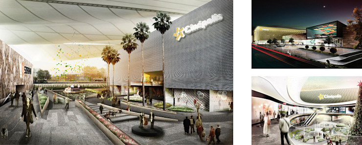 Gran Terraza Miravalle, Guadalajara Centros comerciales de estilo moderno de LEAP Laboratorio en Arquitectura Progresiva Moderno