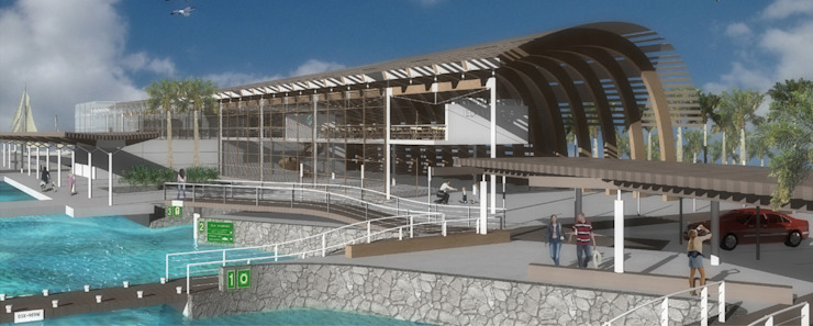 Terminal marítima Isla Mujeres, Quintana Roo Aeropuertos de estilo moderno de LEAP Laboratorio en Arquitectura Progresiva Moderno