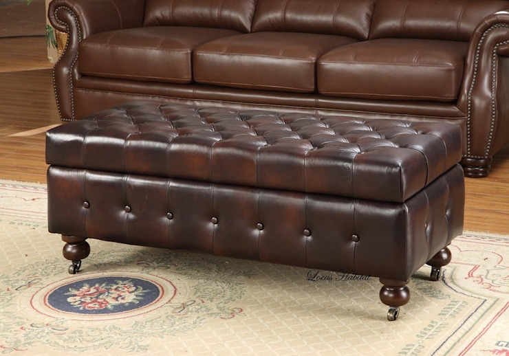 Gorgeous Leather Chesterfield Ottoman de Locus Habitat Clásico