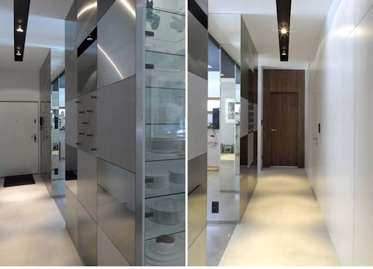 apartament Warszawa Mokotów Minimalistyczny korytarz, przedpokój i schody od SHOQ STUDIO Architektura i wnętrza Minimalistyczny