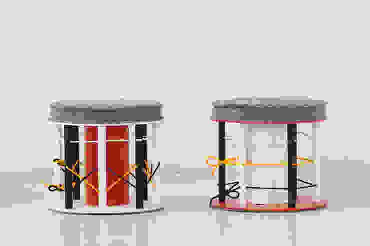 Multicoloured poufs od NaNowo Industrial Design Minimalistyczny