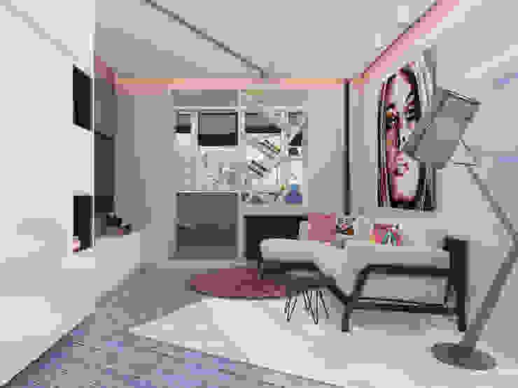 Однокомнатная квартира в стиле поп-арт Гостиная в стиле модерн от EEDS дизайн студия Евгении Ермолаевой Модерн