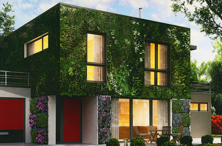 Pareti verticali con essenze naturali Case moderne di Immagine Verde Moderno