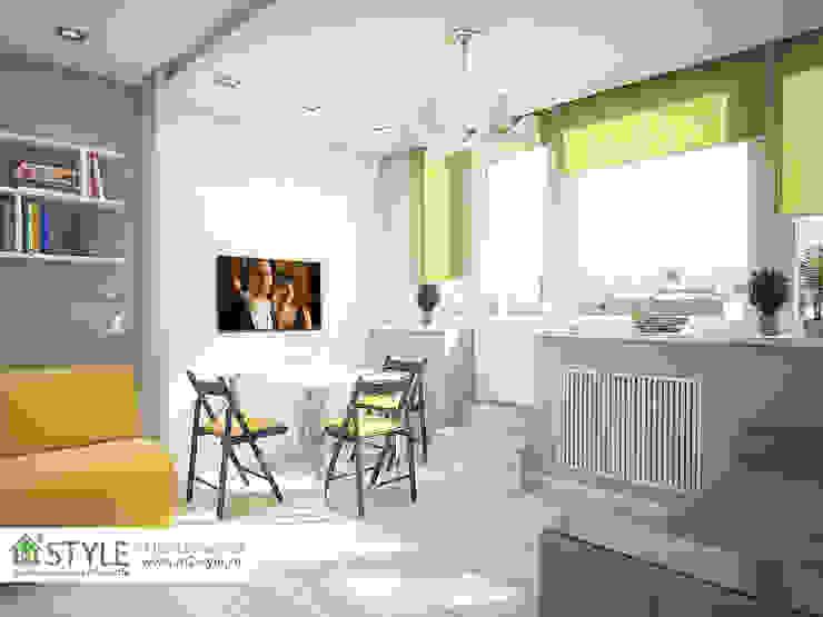 двухуровневая квартира-студия Гостиная в стиле модерн от Студия m2style Модерн