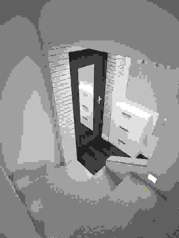 двухуровневая квартира-студия Коридор, прихожая и лестница в модерн стиле от Студия m2style Модерн