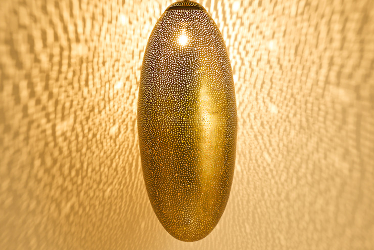 Raw brass oval pendant light: modern  by .., Modern