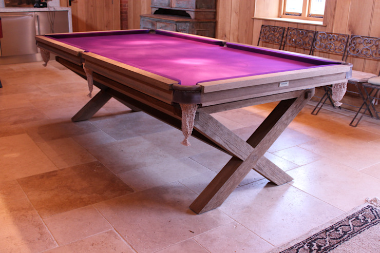 8 ft Bespoke Fumed Oak Crossed Leg Table with purple cloth: modern  by HAMILTON BILLIARDS & GAMES CO LTD, Modern