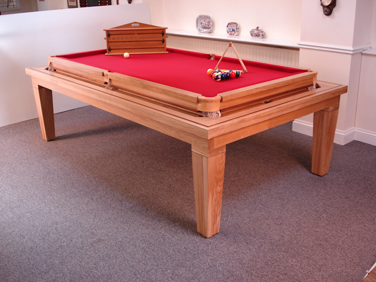 7 ft Sims Rollover Contemporary Snooker/Pool Diner in solid oak with red cloth: modern  by HAMILTON BILLIARDS & GAMES CO LTD, Modern