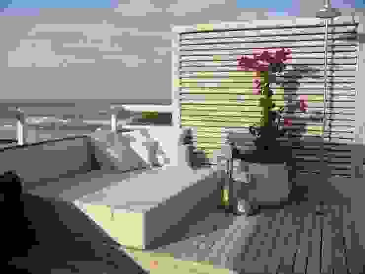 Apto AA - Ed. Água Marinha: Terraços  por Mantovani e Rita Arquitetura,Moderno