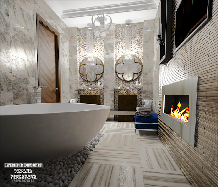 Ванная комната при спальне Ванная комната в эклектичном стиле от Частный дизайнер Оксана Пискарева Эклектичный
