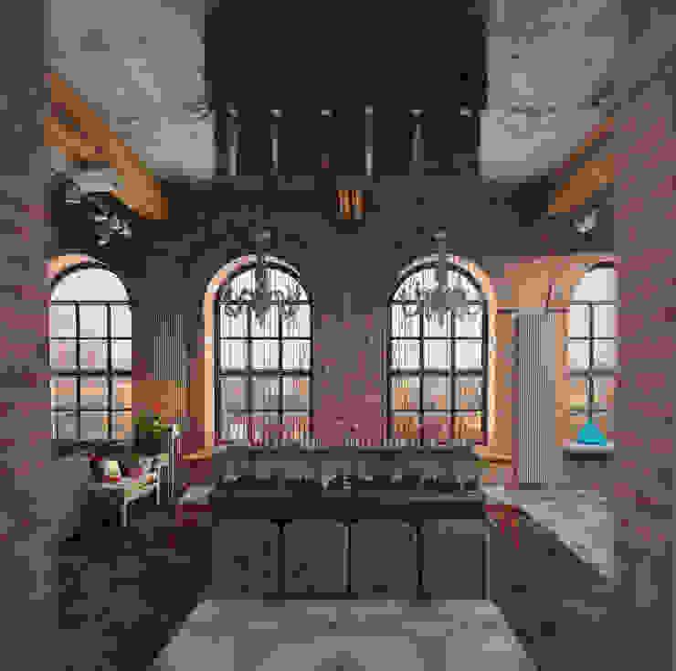 Частный дизайнер Оксана Пискарева ทางเดินในสไตล์อุตสาหกรรมห้องโถงและบันได