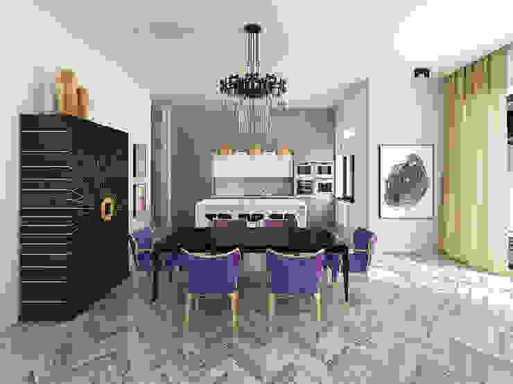 Кухня-столовая Столовая комната в эклектичном стиле от ELENA BELORYBKINA Эклектичный